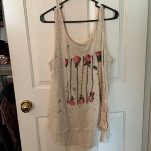Cream tank top with rose images